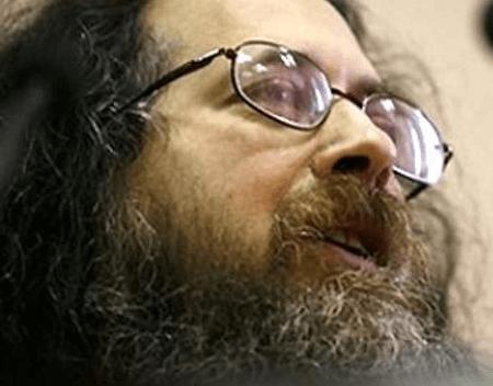 A closeup photo of Richard Stallman speaking.